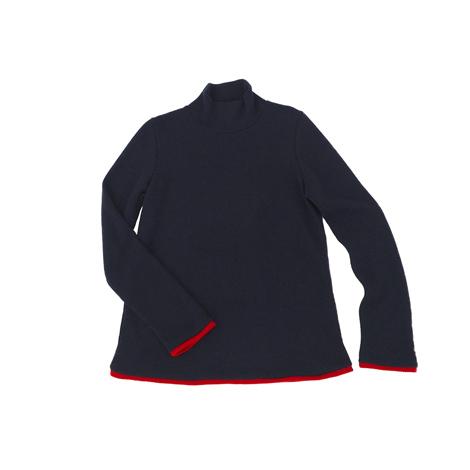 aa.ハイネック配色セーター