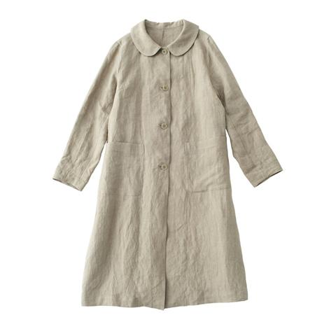 麻の丸襟コート