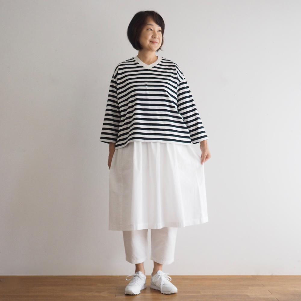 aa.ボーダー7分袖Tシャツ