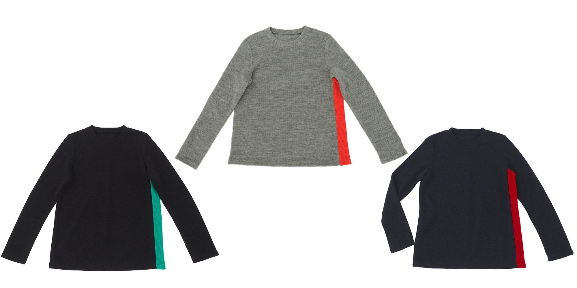 クルーネック配色セーター
