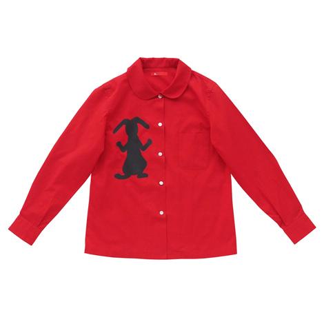 丸襟プリントシャツ(うさぎ)