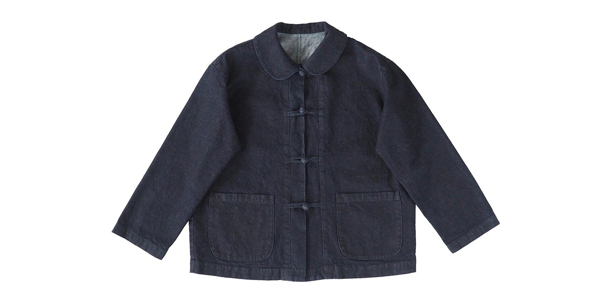 チャイナボタンのデニムジャケット